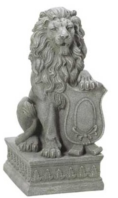 Guardian lion in stone finish, 25 inches tall