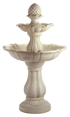2-tiered acorn fountain in white marble finished resin, 41 inches tall.
