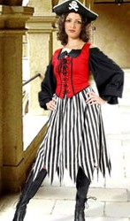 Striped skirt in black and white, also available in red-white and red-black stripes.