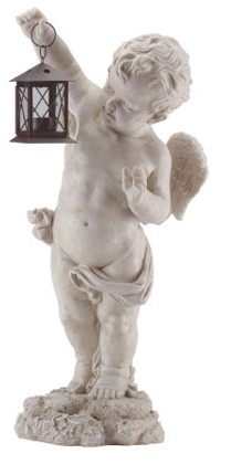 Cherub tealight lantern in white marble finish alebastrite, 25 inches tall.