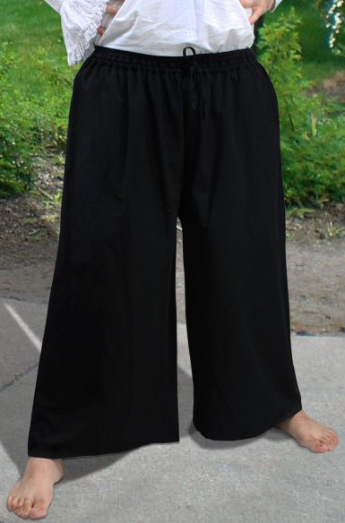 Men's Drawstring, wide-bottom pirate pants in black