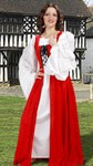 Fair Maiden dress in red and Celtic chemise with lace trim on sleeves.  Dress comes in red, green or blue and sizes to XL.  Chemise is white only, one size fits all.