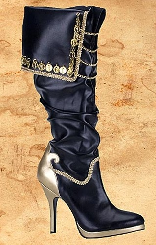 Black  pirate queen boots with gold coins and chains, gold 3.75 inch heel.