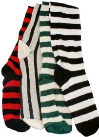 Renaissance cotton thigh-high socks in 5 solid colors and 3 stripe combinations