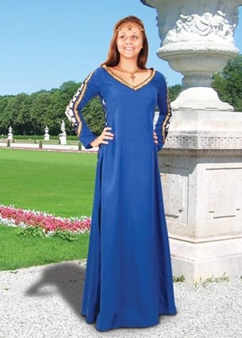 Castleford gown in royal blue, also available in hunter green and red.
