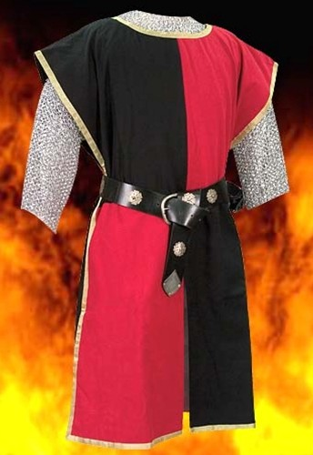 Knightly tabard in red and black, also available in red and blue, blue and black, or yellow and black.