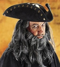 Blackbeard hat, from On Stranger Tides movie, black velour overlay, gold braid and button trim