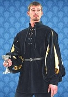 Cavalier shirt in black velvet with satin inner sleeves in gold or silver