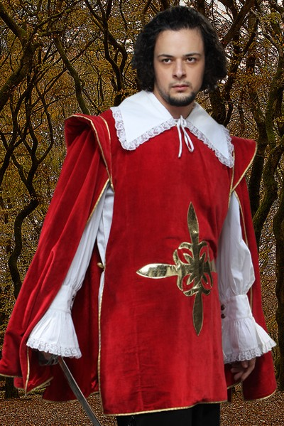 Musketeer Tabard in rich red cotton velvet with gold satin fleur de lis cross emblem of the musketeers.