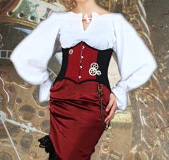 Victorian Countess underbust corset in black and burgundy poplin