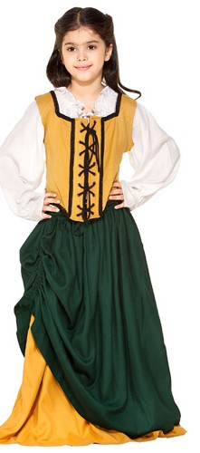Girls double skirt in hunter green and gold.