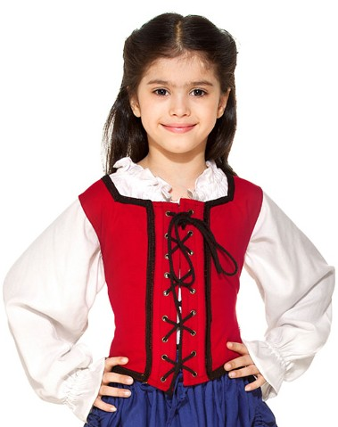 Girls reversible lace-up bodice in red