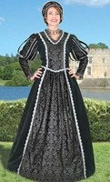 Queen Anne gown in black brocade and velvet with silver trim