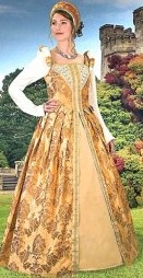 Anjou Early Renaissance gown in rich gold brocade