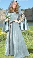 Maid Marian Ensemble in silver grey velvet with beaded metallic trim and matching veil with circlet.