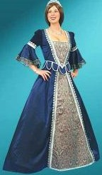 Florentine Gown in royal blue satin and silver brocade