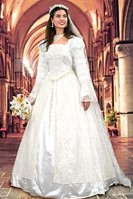 White Renaissance satin and lace bridal gown with 60-inch lace veil and beaded belt