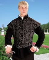 Aramis doublet in rich black and silver brocade with removable sleeves.