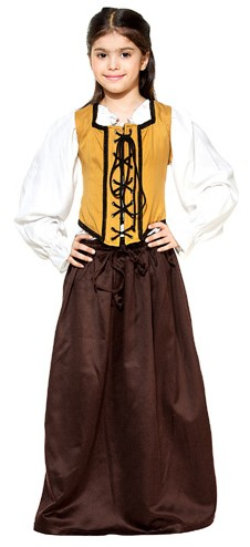 Girls' cotton skirt in chocolate with gold bodice.