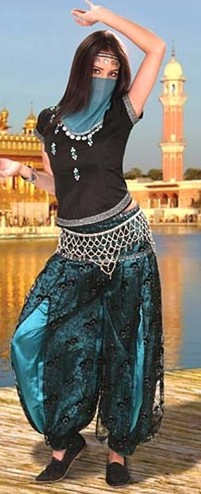 Bellydancer ensemble in black and turqoise with veil and headband trimmed in silver coins.