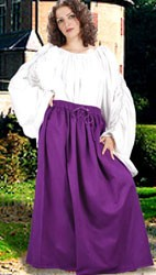 Gathered cotton skirt, shown in purple, five other colors available.