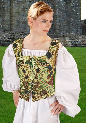 Princess bodice in brown and green velvet patchwork, no boning