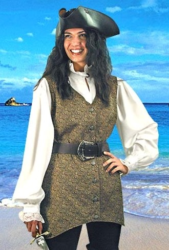 Mary Read pirate vest in brown and gold brocade.