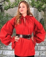 Pirate wench shirt in red only, very full sleeves with lace cuffs.