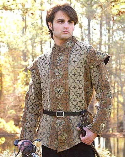 Royal Court Renaissance Doublet in rich, heavy brocade with antiqued buttons.  Sizes S-XL.