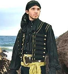 Pirate Vest in black velvet with  braid trim and antiqued brass buttons.