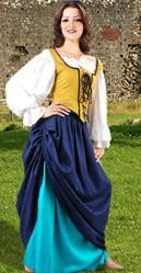 Double skirted tavern wench ensemble, many color combinations
