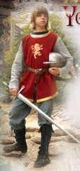 Boys Knightly Tunic in red velvet with gold trim and lightweight rayon mesh chain mail