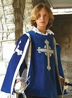 Boys Musketeer Tabard in blue velvet with silver trim and silver embroidered cross front and back