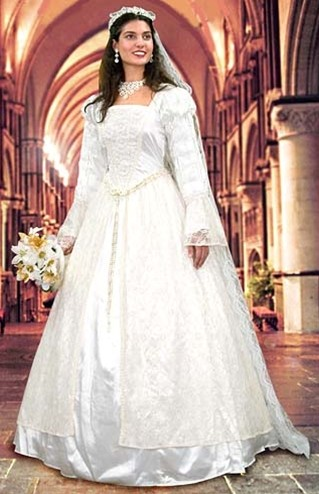 Renaissance white lace wedding gown and 60 inch lace veil