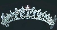 Princess Tiara has over 100 glittering faux diamonds and side combs for  secure fit.  Shown in silver, also available in gold.