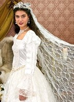 Renaissance Wedding Gown and 60-inch lace veil, gown is trimmed in imitation pearls and hand-made flowers, white and gold beaded belt included.