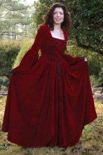 Scarlet Dream Gown in heavy red cotton velvet, very full skirt, lace-up bodice with handmade black frogs