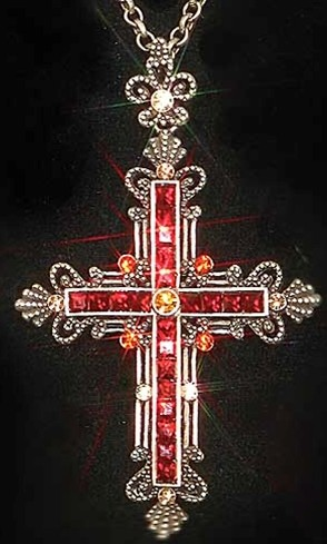 Crimson Medieval Cross is set with 11 simulated blood red stones, on 22 inch ornate beaded chain in antiqued silver color
