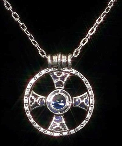 Medieval Ring Cross in pewter, blue enamel and center stone, on 18 inch rope chain.