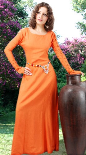 Natural flax gown in orange, lacings up sleeves and back.