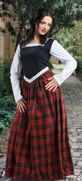 Highland Dress looks like a bodice, skirt and chemise, but it is a 1-piece dress!