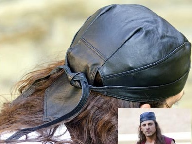 Pirate head wrap in black leather.