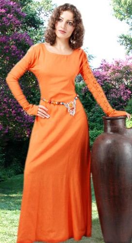 Medieval gown in natural flax linen, tangerine color