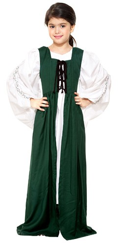 Girls' Medieval Market dress in hunter green
