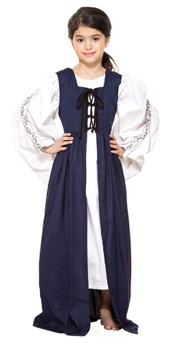 Girls Medieval Market overdress in navy.
