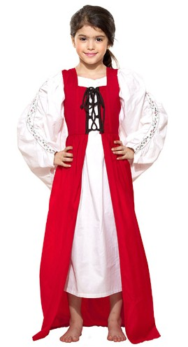 Girls' Medieval Market dress in red
