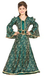 Girls' emerald brocade gown