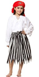 Girls black and white striped pirate skirt
