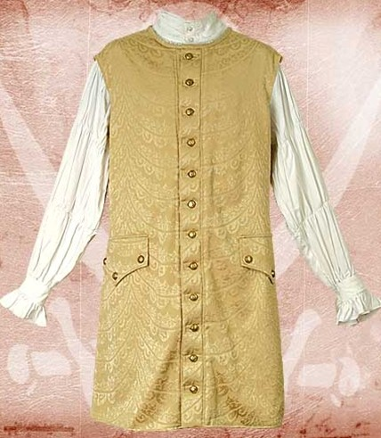 Long sleeveless vest in gold metallic brocade with antiqued buttons down the front.  Also available in silver brocade.