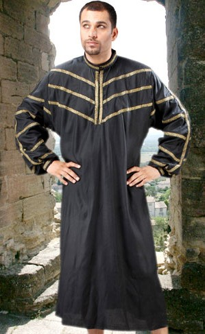 Surrey Medieval Smock in black with gold trim